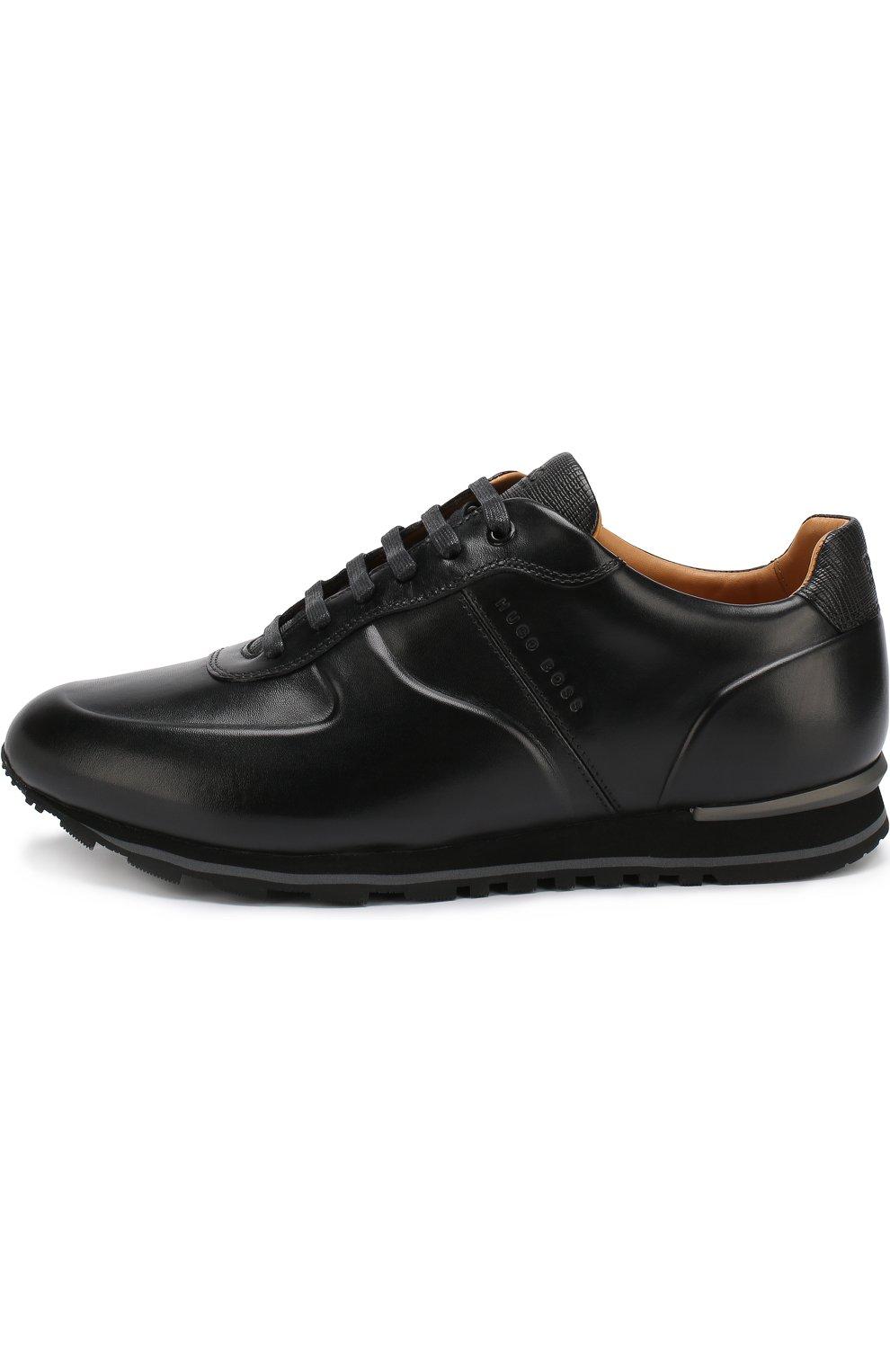 Мужские черные кожаные кроссовки на шнуровке BOSS — купить за 22500 ... 1d1e6e5709235
