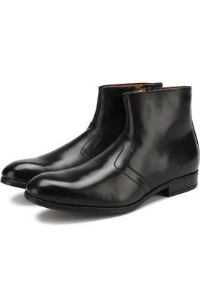 Кожаные сапоги с прострочкой A. Testoni черные | Фото №1