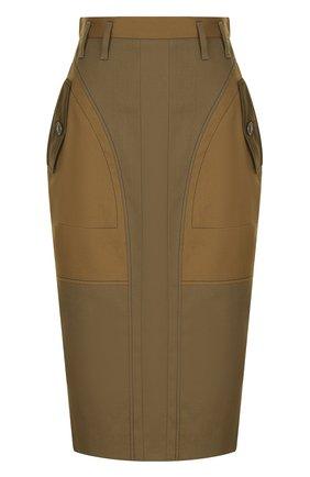Хлопковая юбка-карандаш с карманами Altuzarra хаки   Фото №1
