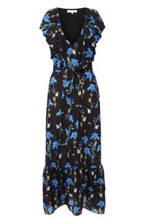 Приталенное платье-макси с V-образным вырезом и принтом   Фото №1