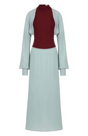 Приталенное шелковое платье с воротником-стойкой Victoria Beckham зеленое | Фото №1