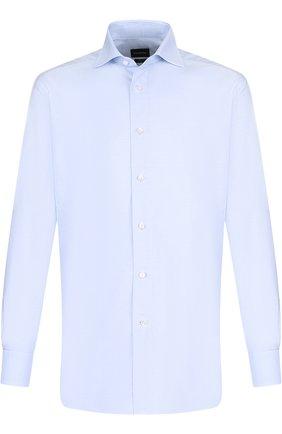 Мужская хлопковая сорочка с воротником кент ERMENEGILDO ZEGNA голубого цвета, арт. 401030/9RS0BA | Фото 1