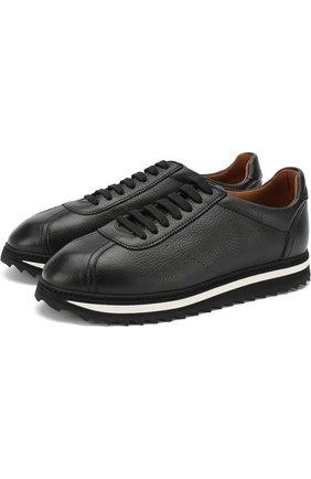 Кожаные кроссовки на шнуровке Doucal's черные | Фото №1