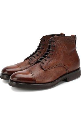 Кожаные ботинки с брогированием на шнуровке H`D`S`N Baracco коричневые | Фото №1