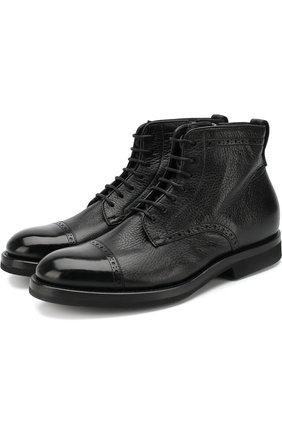 Кожаные ботинки с брогированием на шнуровке H`D`S`N Baracco черные | Фото №1