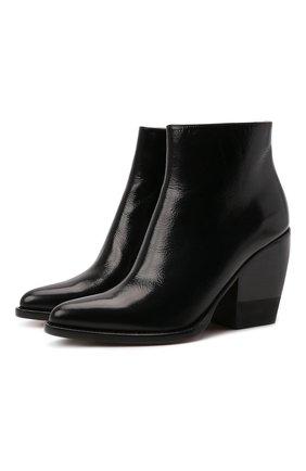 Женские кожаные ботильоны rylee на устойчивом каблуке CHLOÉ черного цвета, арт. CHC18A05921 | Фото 1
