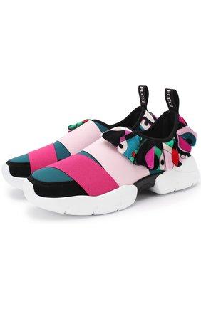 Текстильные кроссовки с эластичными лентами | Фото №1