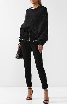 Укороченные замшевые брюки со шнуровкой Ben Taverniti Unravel Project черные | Фото №1