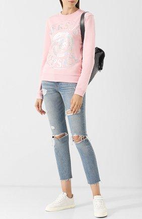 Укороченные джинсы с потертостями GRLFRND голубые | Фото №1