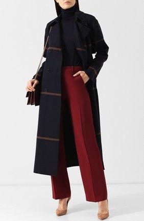 Однотонные брюки из смеси шерсти и шелка со стрелками