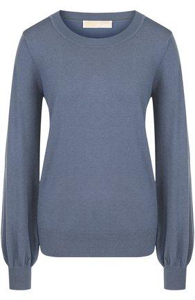 Однотонный пуловер с круглым вырезом MICHAEL Michael Kors голубой   Фото №1