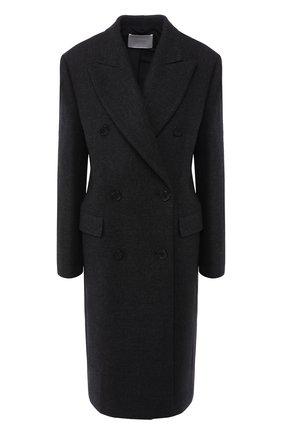 Двубортное шерстяное пальто прямого кроя BOSS темно-серого цвета | Фото №1