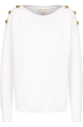 Однотонный пуловер с контрастными пуговицами MICHAEL Michael Kors голубой   Фото №1