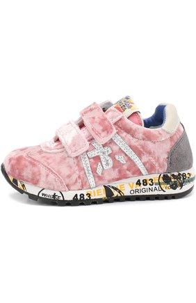 Детские комбинированные кроссовки с застежками велькро Premiata will be розового цвета | Фото №1