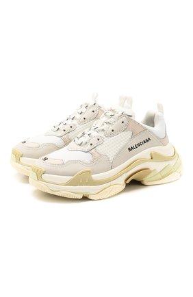 Женские комбинированные кроссовки triple s BALENCIAGA белого цвета, арт. 524036/W09E1 | Фото 1