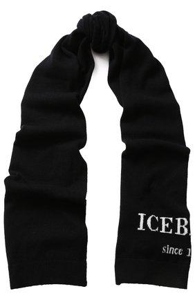 Кашемировый шарф с логотипом бренда Iceberg черный   Фото №1