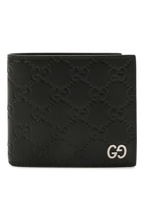 Мужской кожаное портмоне с тиснением signature GUCCI черного цвета, арт. 473922/CWC1N | Фото 1