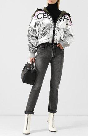 Куртка на молнии с капюшоном и логотипом бренда Iceberg серебряная   Фото №1