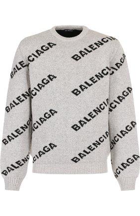 Шерстяной свитер с логотипом бренда | Фото №1