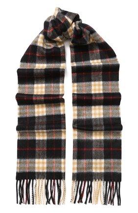 Мужской кашемировый шарф в клетку BURBERRY черного цвета, арт. 4075255 | Фото 1