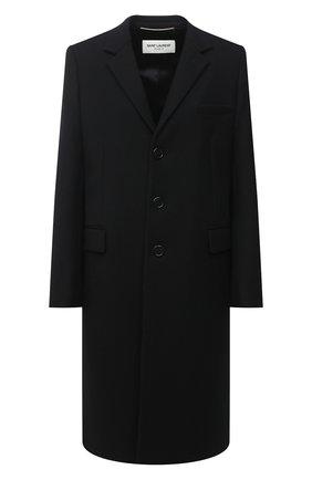 Женское шерстяное пальто прямого кроя SAINT LAURENT черного цвета, арт. 517798/Y177W | Фото 1