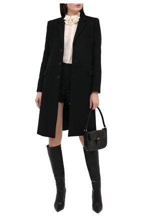 Женское шерстяное пальто прямого кроя SAINT LAURENT черного цвета, арт. 517798/Y177W | Фото 2