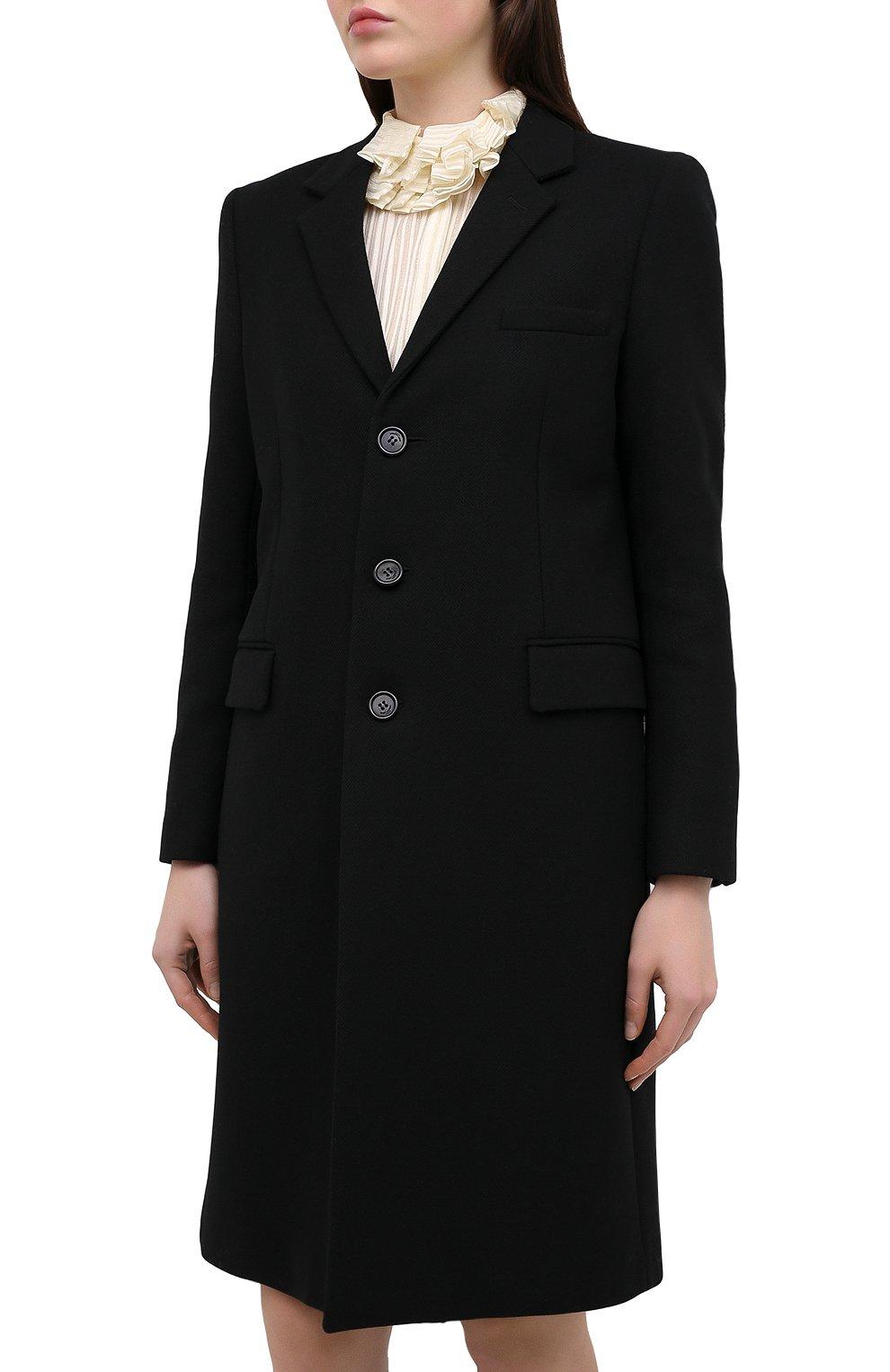 Женское шерстяное пальто прямого кроя SAINT LAURENT черного цвета, арт. 517798/Y177W | Фото 3