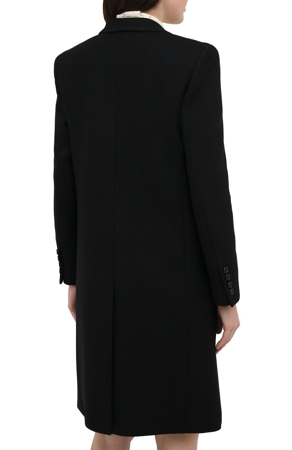 Женское шерстяное пальто прямого кроя SAINT LAURENT черного цвета, арт. 517798/Y177W | Фото 4