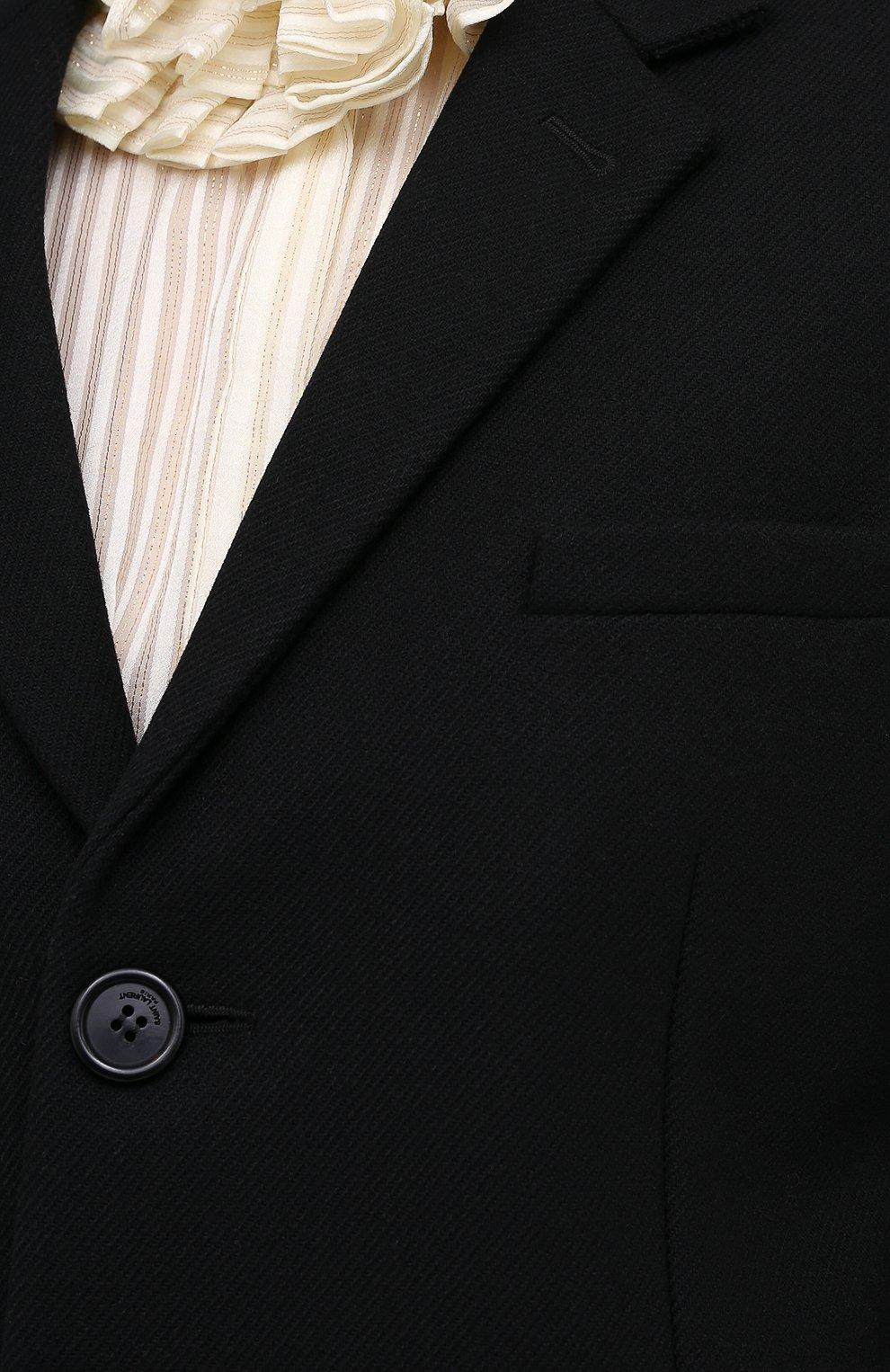 Женское шерстяное пальто прямого кроя SAINT LAURENT черного цвета, арт. 517798/Y177W | Фото 5