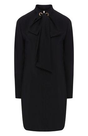 Однотонное шелковое платье с бантом Chloé черное   Фото №1