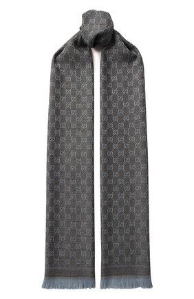 Шерстяной шарф с принтом и бахромой | Фото №1