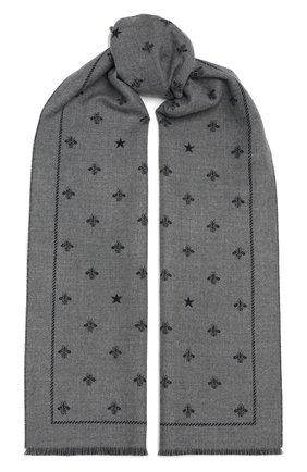 Мужской шерстяной шарф с необработанным краем GUCCI серого цвета, арт. 430583/4G200 | Фото 1 (Материал: Шерсть; Статус проверки: Проверена категория; Кросс-КТ: шерсть)