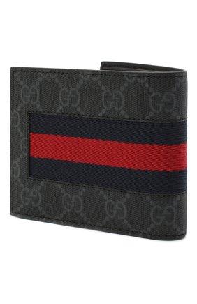 Мужской портмоне gg supreme web с отделениями для кредитных карт GUCCI черного цвета, арт. 408826/KHN4N | Фото 2