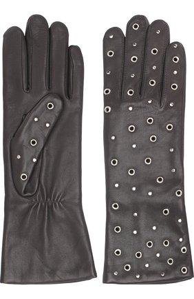 Кожаные перчатки с металлическими люверсами Agnelle темно-серые | Фото №1