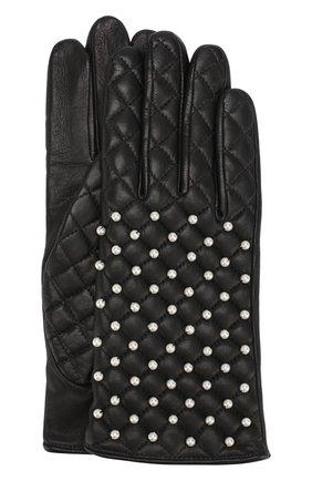 Кожаные перчатки с отделкой жемчужинами Agnelle черные | Фото №1