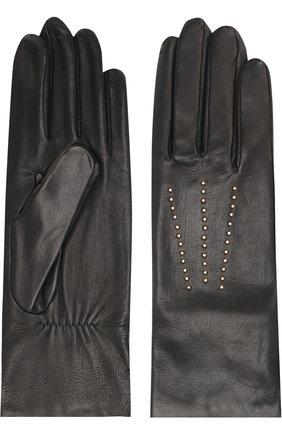 Кожаные перчатки с отделкой стразами Agnelle черные | Фото №1