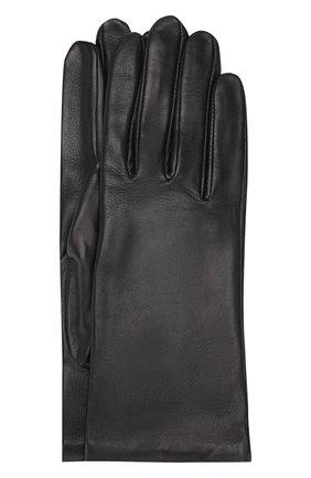 Женские кожаные перчатки AGNELLE черного цвета, арт. INES/S | Фото 1