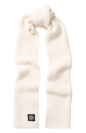 Шерстяной шарф с логотипом бренда Stone Island белый | Фото №1