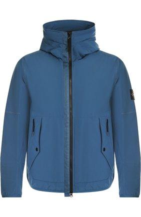 Куртка на молнии с капюшоном Stone Island синяя | Фото №1