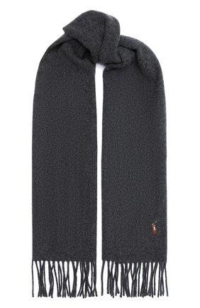 Мужской шерстяной шарф POLO RALPH LAUREN темно-серого цвета, арт. 449727530 | Фото 1