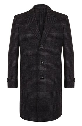 Однобортное шерстяное пальто в клетку Ermenegildo Zegna темно-синего цвета | Фото №1