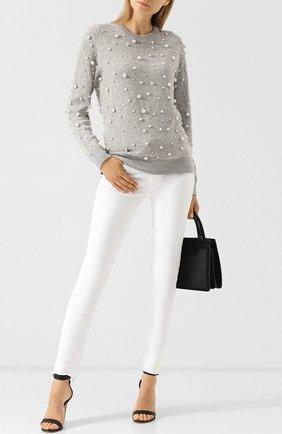Кашемировый пуловер с круглым вырезом и декоративной отделкой Michael Kors Collection серый | Фото №1