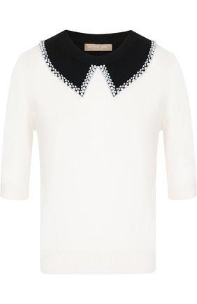 Кашемировый пуловер с укороченным рукавом и декоративной отделкой Michael Kors Collection белый | Фото №1
