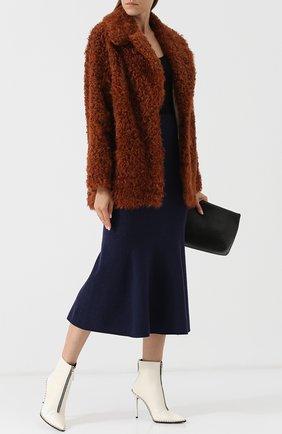Укороченное пальто из овчины Mate Official кремвого цвета | Фото №1