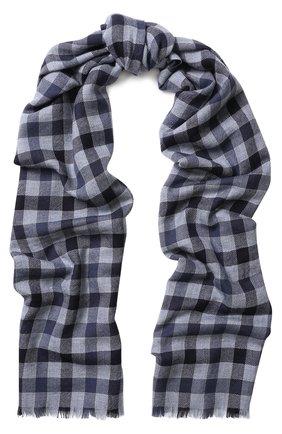 Мужской кашемировый шарф в клетку LORO PIANA синего цвета, арт. FAI3346 | Фото 1
