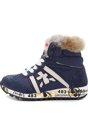 Детские высокие кроссовки из замши и текстиля с внутренней меховой отделкой Premiata will be синего цвета | Фото №1
