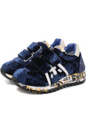 Детские кроссовки с текстильной отделкой и застежками велькро Premiata will be синего цвета | Фото №1