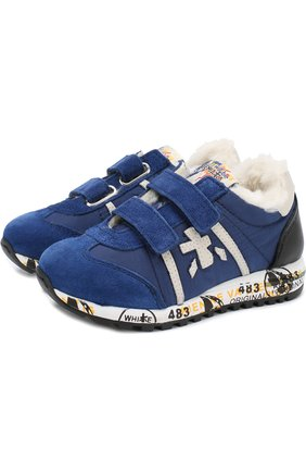 Утепленные замшевые кроссовки с текстильной отделкой | Фото №1