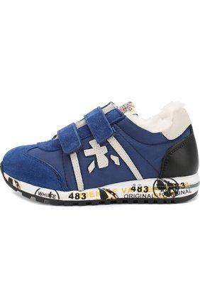 Детские утепленные замшевые кроссовки с текстильной отделкой Premiata will be синего цвета | Фото №1