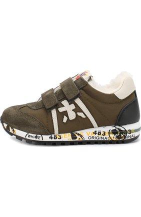 Детские утепленные замшевые кроссовки с текстильной отделкой Premiata will be хаки цвета | Фото №1
